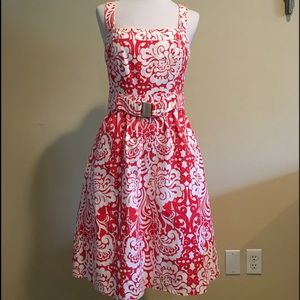Shoshanna Poppy Red and White Mid-Length Dress